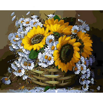 Kit pictura pe numere cu flori, Basket of Flowers