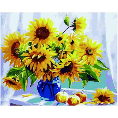 Kit pictura pe numere cu flori, Yellow like sun