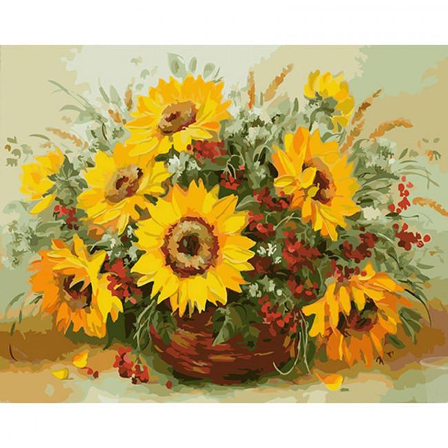 Kit pictura pe numere cu flori, Basket of sunflowers