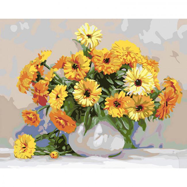 Kit pictura pe numere cu flori, Marigold