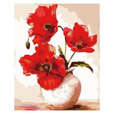 Kit pictura pe numere cu flori, Vase of poppies