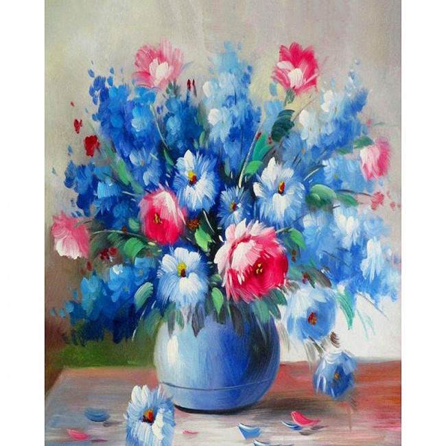Kit pictura pe numere cu flori, Blue flowers