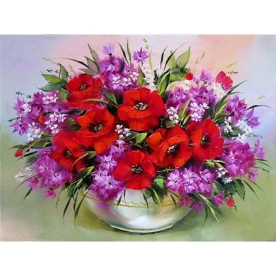 Kit pictura pe numere cu flori, Vase Full of Flowers