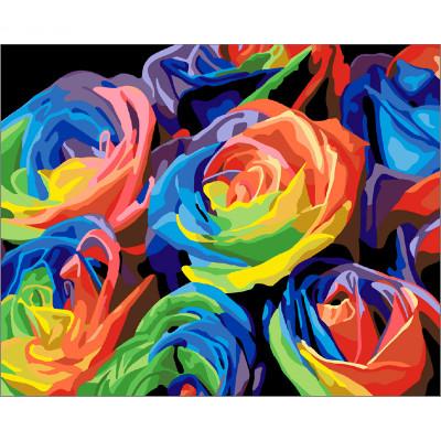 Kit pictura pe numere cu flori, Rainbow flowers