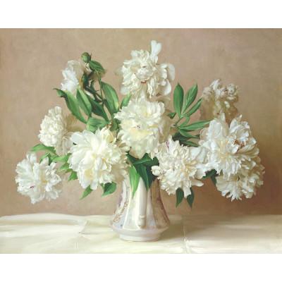 Kit pictura pe numere cu flori, All white
