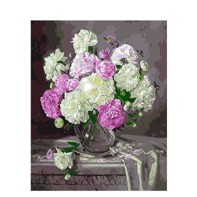 Kit pictura pe numere cu flori, The smell of peonies