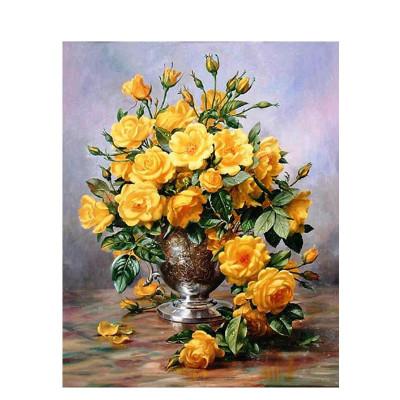 Kit pictura pe numere cu flori, The yellow roses