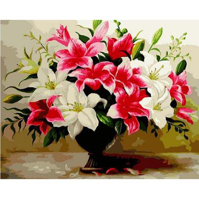 Kit pictura pe numere cu flori, Beautiful Lilies
