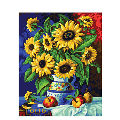 Kit pictura pe numere cu flori, Apples and sunflowers