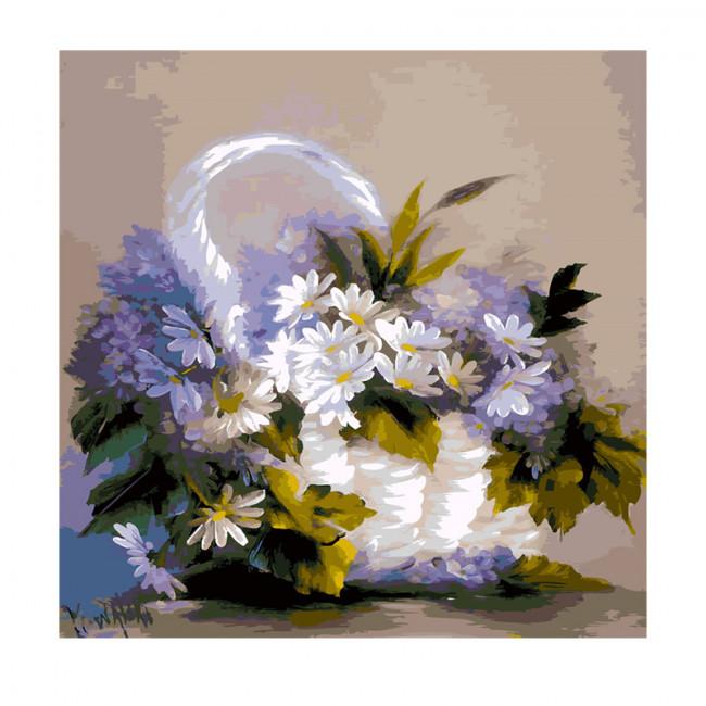 Kit pictura pe numere cu flori, Basket of daisies