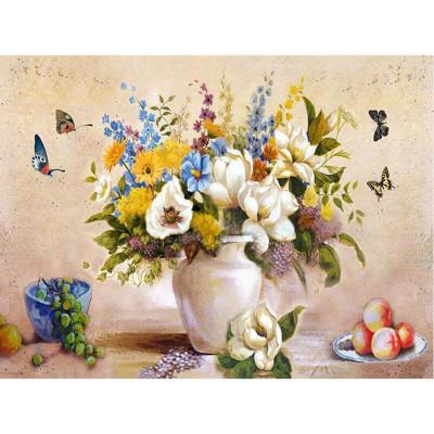 Kit pictura pe numere cu flori, Colorful Flower Arrangement
