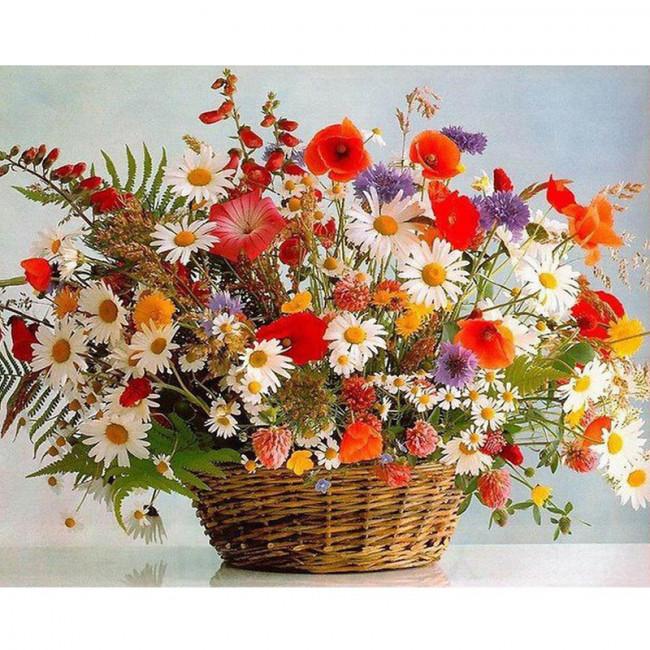 Kit pictura pe numere cu flori, Wild flowers in a basket