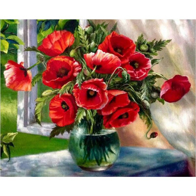 Kit pictura pe numere cu flori, Poppies in a vase of flowers