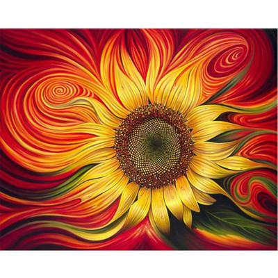 Kit pictura pe numere cu flori, Burning sunflower