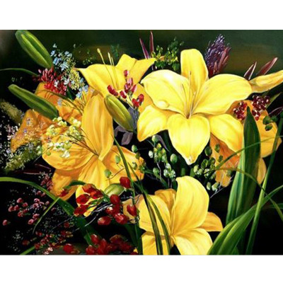 Kit pictura pe numere cu flori, Yellow lilies