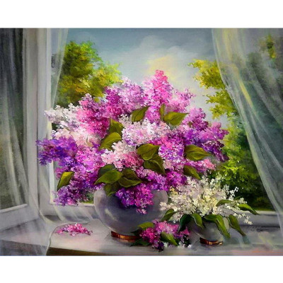 Kit pictura pe numere cu flori, Fresh air