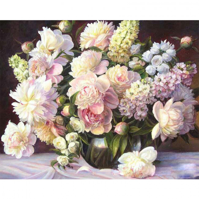 Kit pictura pe numere cu flori, Garden flowers