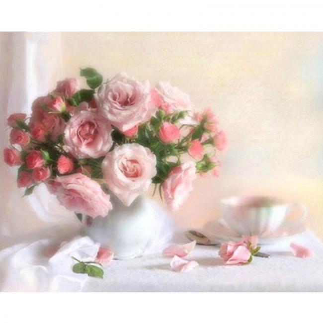 Kit pictura pe numere cu flori, Drinking a cup of tea