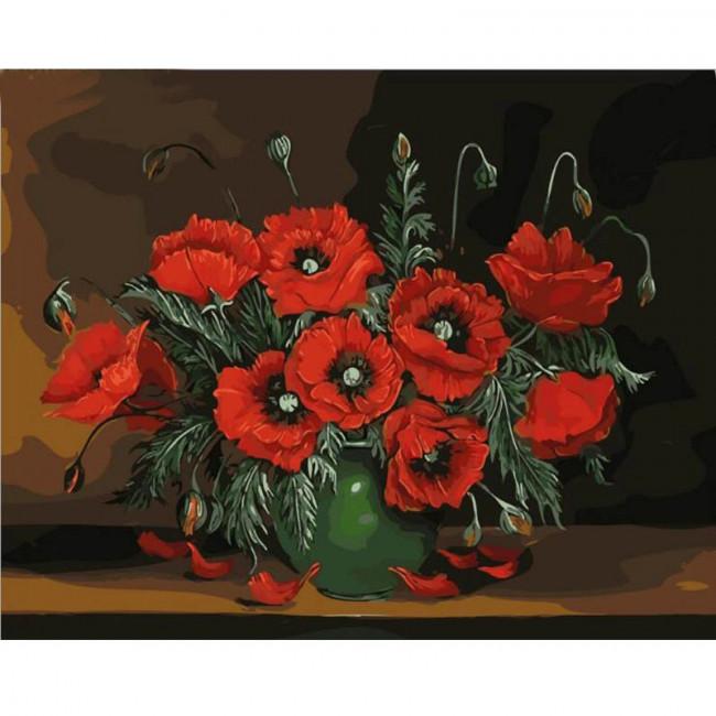 Kit pictura pe numere cu flori, Darkness
