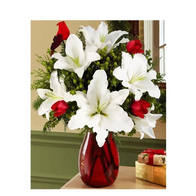 Kit pictura pe numere cu flori, White lilies bouquet