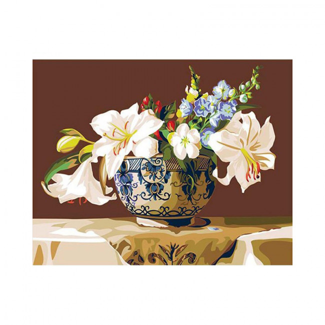 Kit pictura pe numere cu flori,  Imperial lily