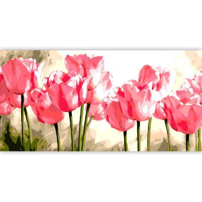 Kit pictura pe numere cu flori, Pink Tulips