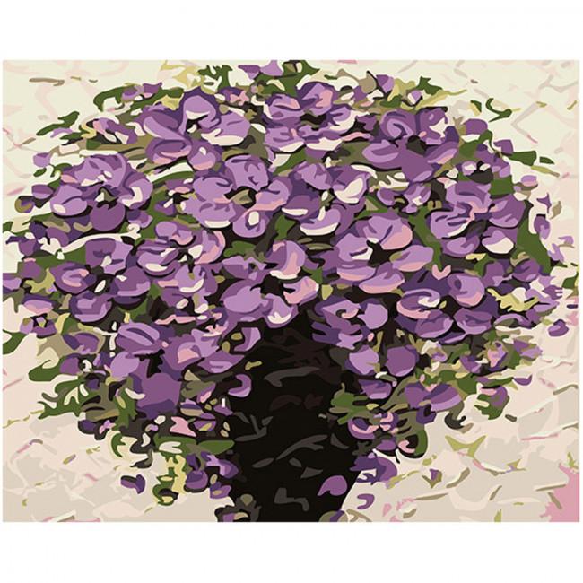 Kit pictura pe numere cu flori,  rich purple