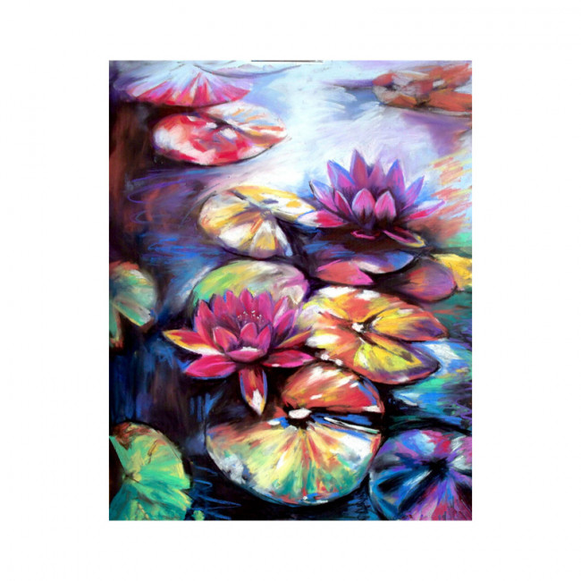 Kit pictura pe numere cu flori, Waterlilies