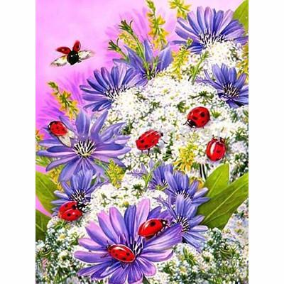 Kit pictura pe numere cu flori, Ladybugs
