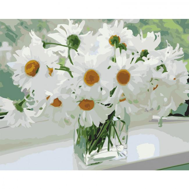 Kit pictura pe numere cu flori, white daisies