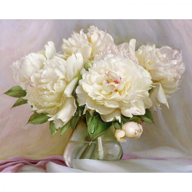 Kit pictura pe numere cu flori, Romantic White Peonies