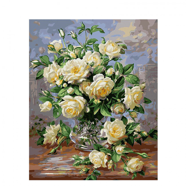Kit pictura pe numere cu flori, White Flowers