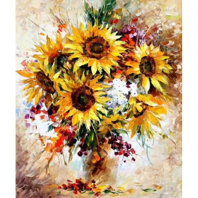 Kit pictura pe numere cu flori, Bouquet of Sunflowers
