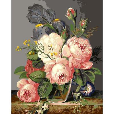 Kit pictura pe numere cu flori, Vase of Flowers