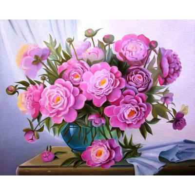 Kit pictura pe numere cu flori, Looking at my peonies