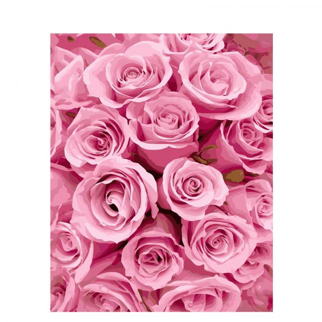 Kit pictura pe numere cu flori, Pink Roses