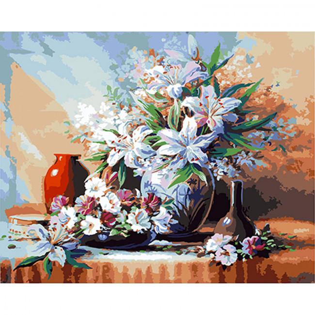 Kit pictura pe numere cu flori, DTP1771