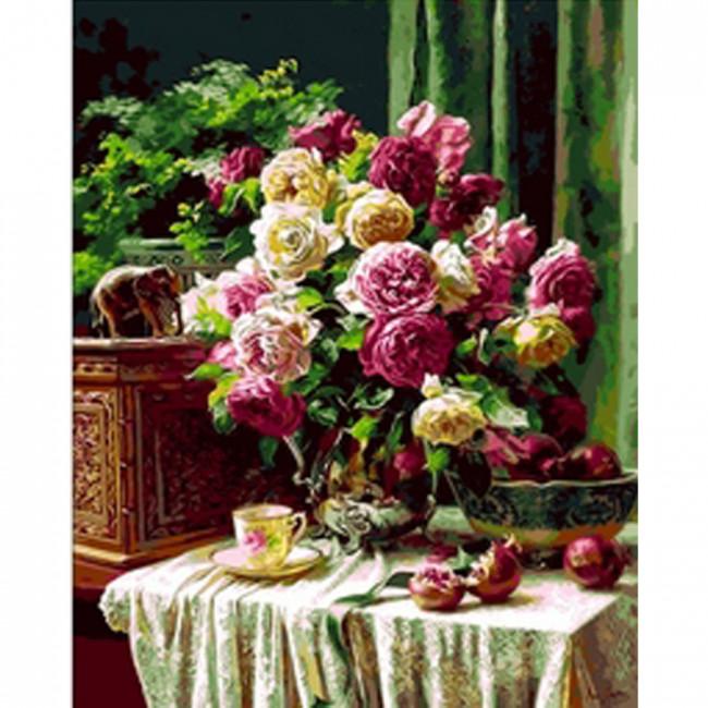 Kit pictura pe numere cu flori, Flower Centerpiece