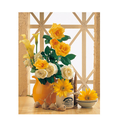 Kit pictura pe numere cu flori, Warm Yellow