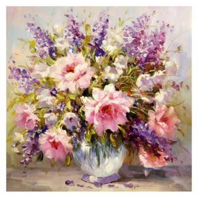 Kit pictura pe numere cu flori, DTP1870