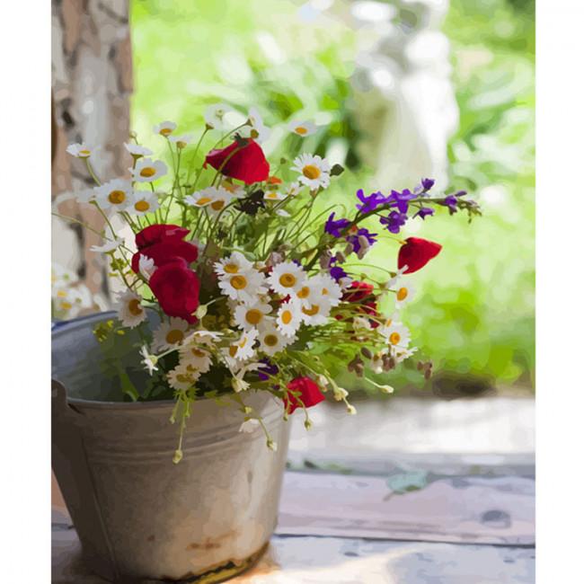 Kit pictura pe numere cu flori, DTP2051