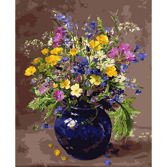 Kit pictura pe numere cu flori, DZ1958