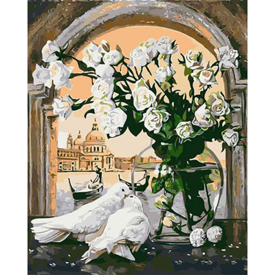 Kit pictura pe numere cu flori, DZ619