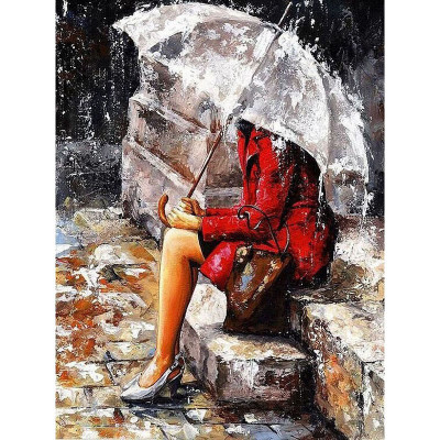 Kit pictura pe numere cu oameni, Melancholy Raindrops