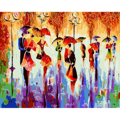 Kit pictura pe numere cu oameni, Autumn rain