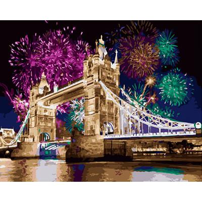 Kit pictura pe numere cu orase, Fireworks over Tower Bridge
