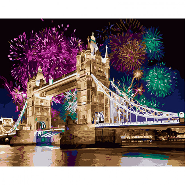 Kit pictura pe numere cu orase, Fireworks over Tower Bridge