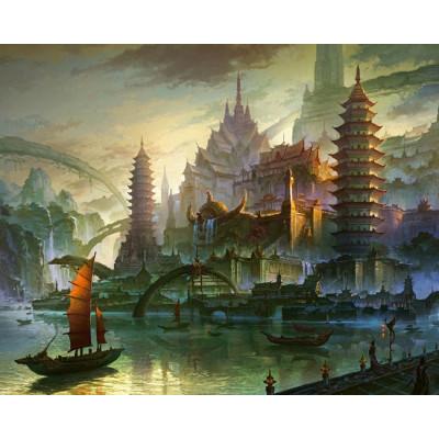 Kit pictura pe numere cu orase, Fantasy World