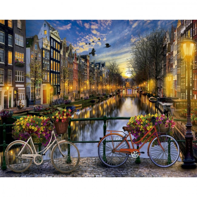 Kit pictura pe numere cu orase, Breathtaking Amsterdam's Canal