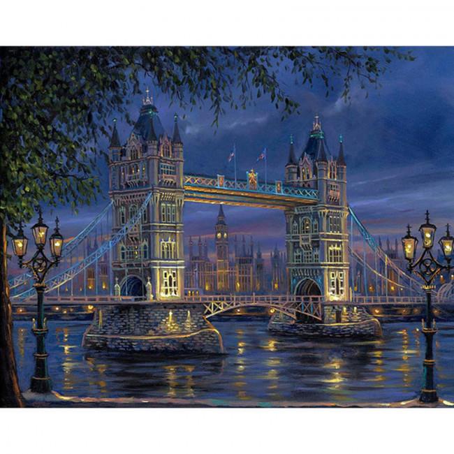 Kit pictura pe numere cu orase, London Bridge by Night